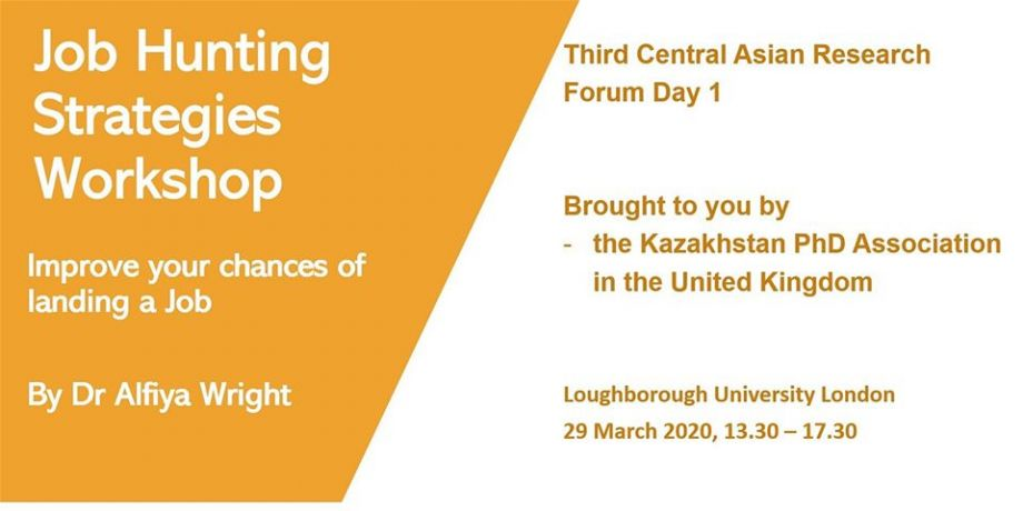 JOB HUNTING STRATEGIES WORKSHOP AS A PART OF THE 3RD CENTRAL ASIAN RESEARCH FORUM ON SUSTAINABLE DEVELOPMENT AND INNOVATION
